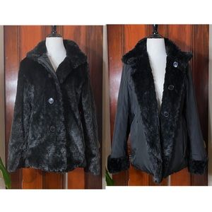Platinum Utex black faux fur reversible coat
